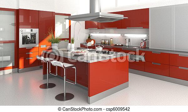 piros, konyha - csp6009542