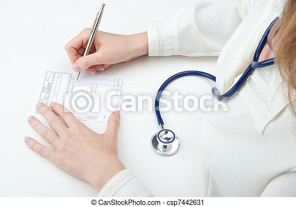 pisać, doktor, recepta, rodzina, (recipe) - csp7442631