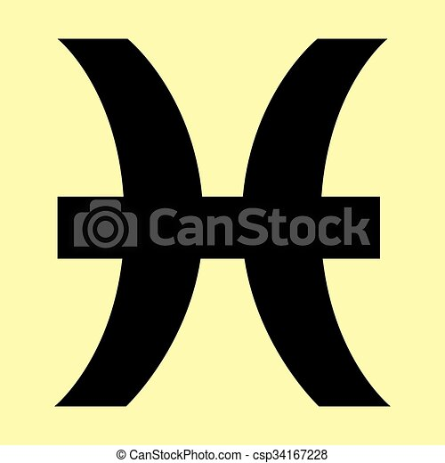 Pisces Sign Flat Style Icon Vector Illustration