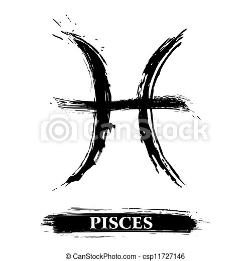 Pisces Symbol Zodiac Sign Created In Grunge Style