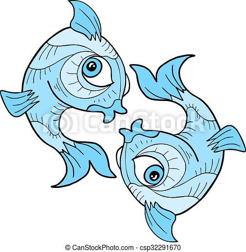 Creative Design Of Pisces Symbol Vectors Illustration