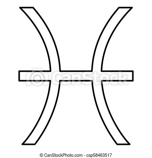 Pisces Symbol Zodiac Icon Black Color Illustration Flat Style Simple