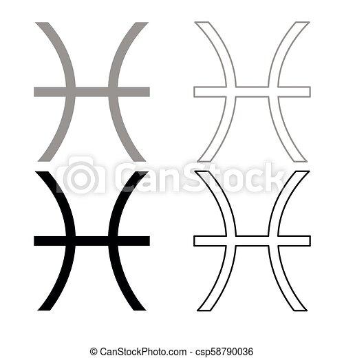 Pisces Symbol Zodiac Icon Outline Set Grey Black Color