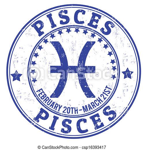 Pisces Zodiac Grunge Stamp