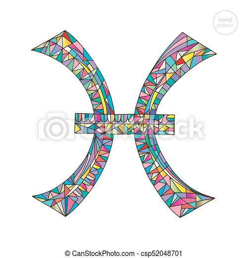 Pisces Zodiac Sign Horoscope Vector Illustration Astrological Hand Drawn Series Colorful Magic Symbol