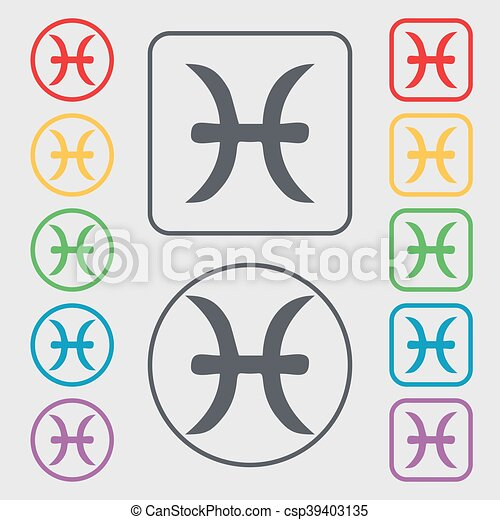 Pisces Zodiac Sign Icon Symbol On The Round And Square Buttons With Frame Vector