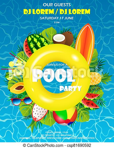 piscina, invitación, fiesta - csp81690592