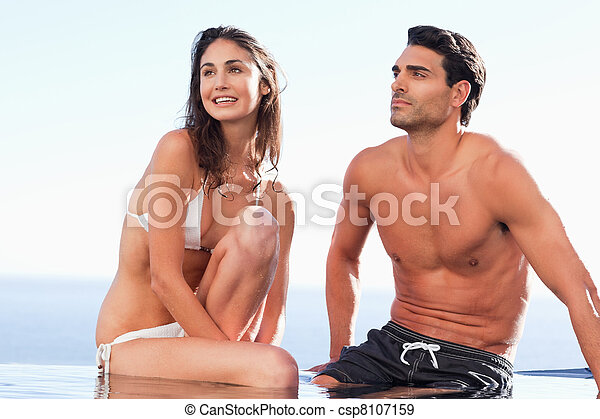 piscine, couple, bord, séance - csp8107159