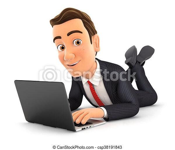 Hombre de negocios en 3D tirado en el suelo y usando portátil - csp38191843