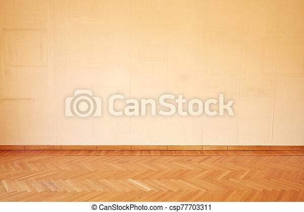 piso, habitación, interior, vacío, viejo, de madera - csp77703311