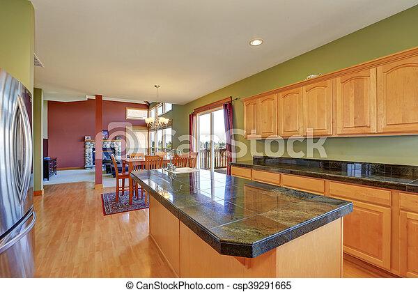 Piso, madera dura, paredes, verde, espacioso, cocina. Acero ...