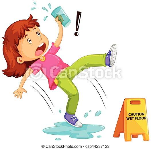 Chica resbalando en el suelo mojado - csp44237123