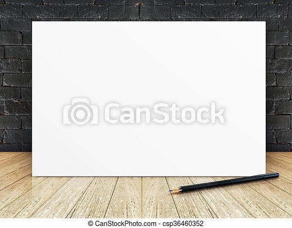 Piso, pared, cartel, marco, de madera, negro, ladrillo.