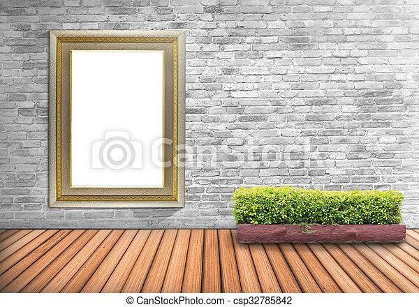 Piso, pared, marco de la foto, blanco, árbol, concreto,... foto de ...