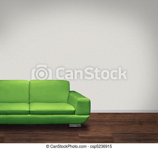 Sofa verde, pared blanca, suelo oscuro - csp5236915