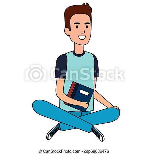 Un estudiante sentado en el personaje avatar del suelo - csp69036476