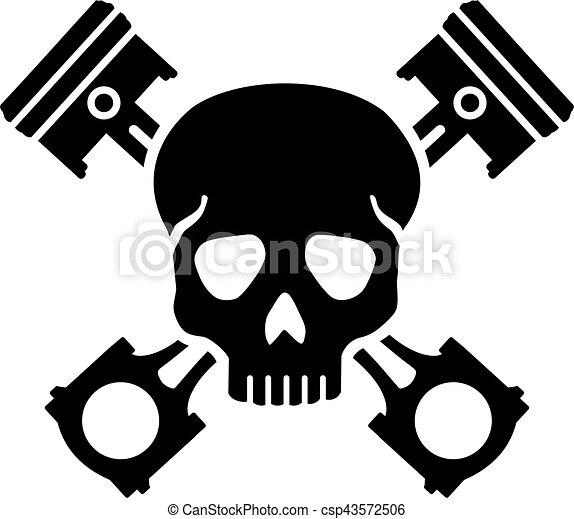 pistões, cruzado, cranio - csp43572506