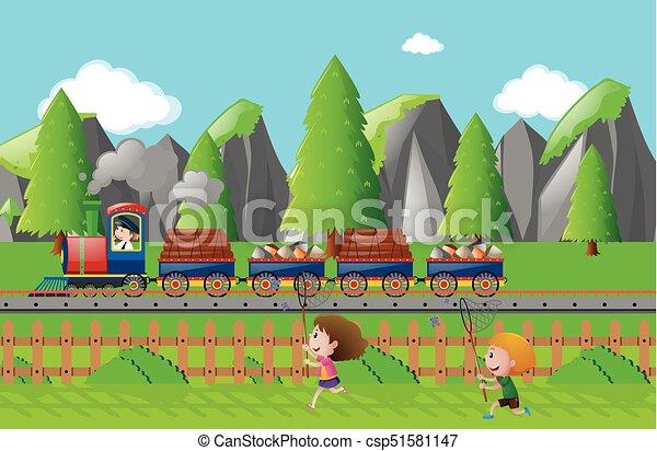 Tren de carga en la pista - csp51581147