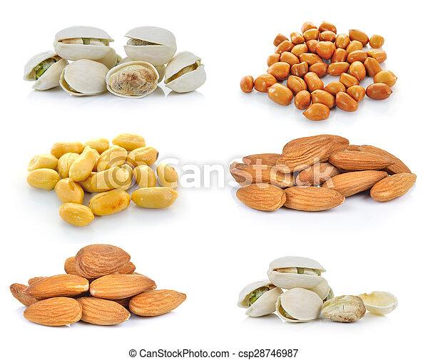 Pistachio nuts, Almonds, Peanuts on white background - csp28746987