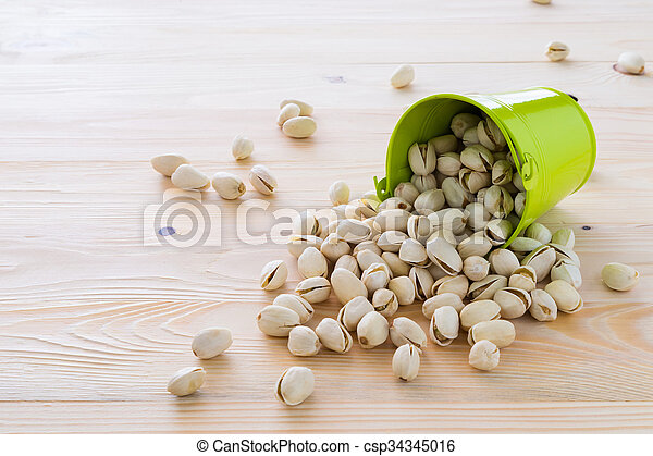 Pistachio nuts are lined - csp34345016
