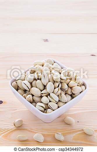 Pistachio nuts in a bowl - csp34344972