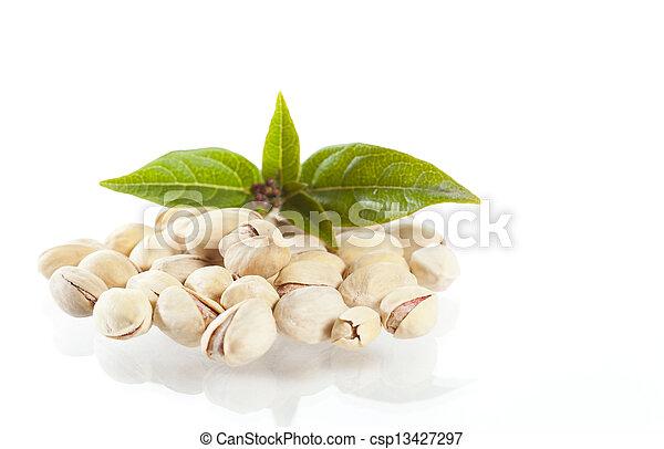 Pistachio with leaves - csp13427297