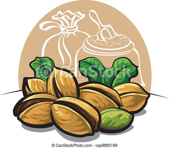 Grficos vectoriales EPS de pistachos nueces  Pistachios nueces