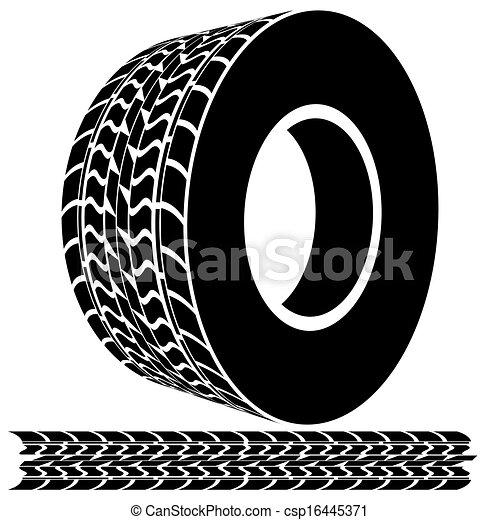 Pisadas de neumático y huellas - csp16445371