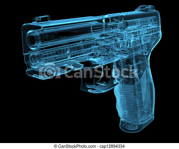 Pistol (3D xray blue transparent) - csp12894334