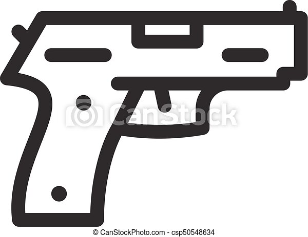 Pistol Gun Icon Outline Vector Icon For Web Isolated On White