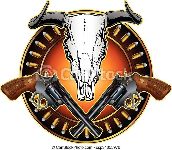 pistolen, ontwerp, westelijk, schedel - csp34055970