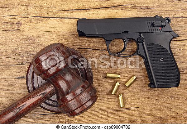 pistolet, noir, munitions - csp69004702