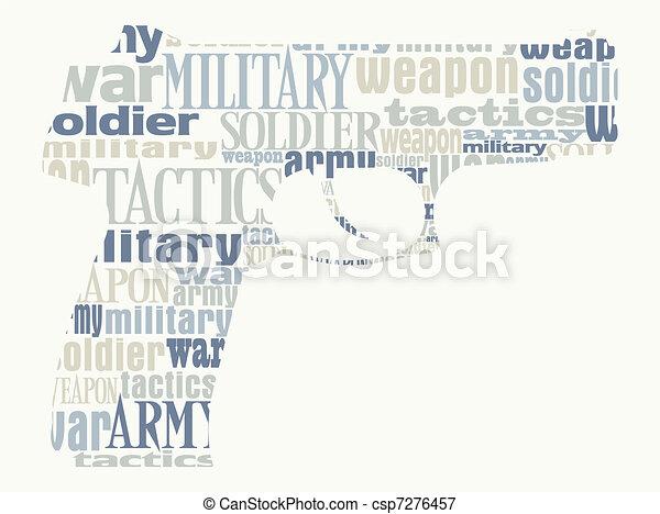 pistolet, silhouette, original - csp7276457