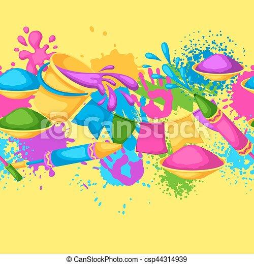pistolety, blots, holi, barwny, border., brudzi, wiadra, seamless, ilustracja, woda, malować, bandery, szczęśliwy - csp44314939