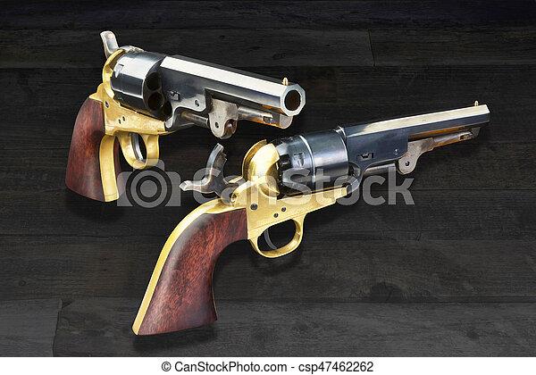 Pistolas de vaqueros occidentales. - csp47462262