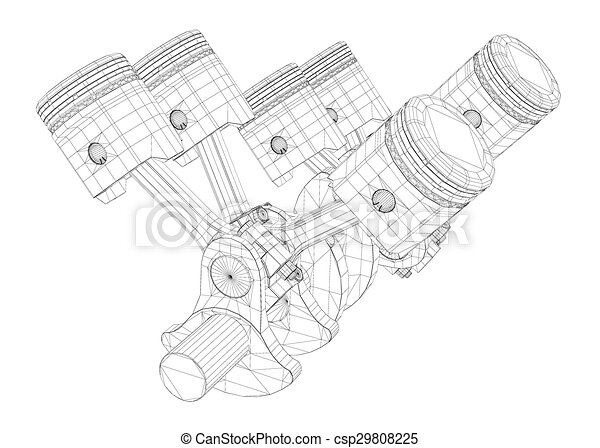 pistons v8 engine body structure wire model rh canstockphoto com