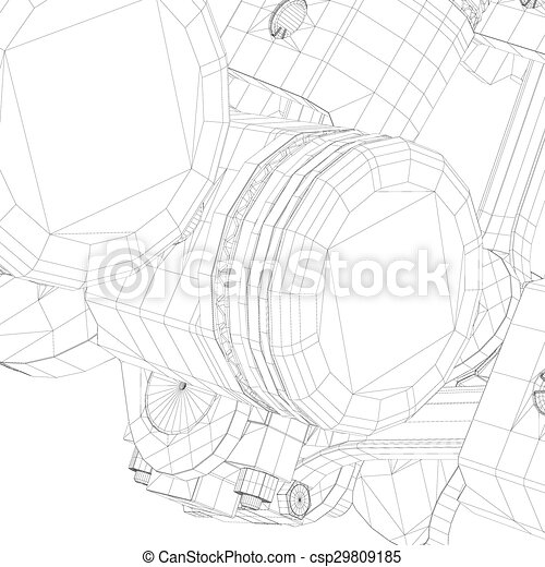 Pistons V8 Engine Body Structure Wire Model Stock Illustration