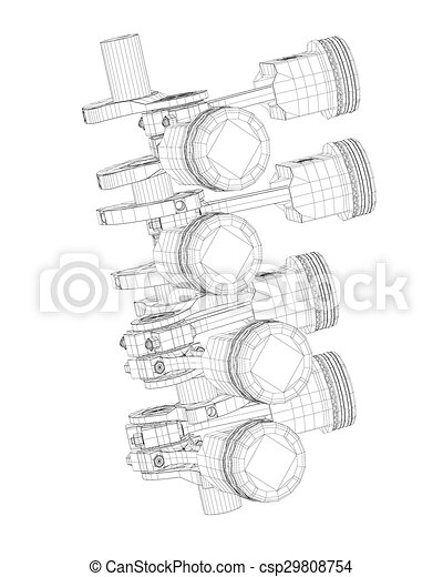 Pistons V8 Engine Body Structure Wire Model Stock Illustrations