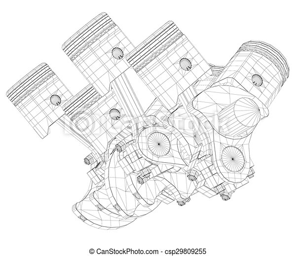 Pistons V8 Engine Body Structure Wire Model