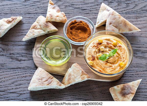 pita, hummus, tigela, fatias - csp26909342