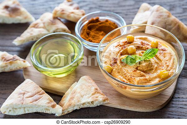 pita, hummus, tigela, fatias - csp26909290