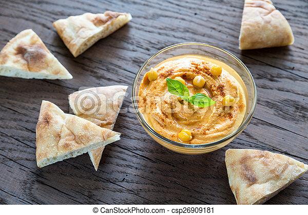 pita, hummus, tigela, fatias - csp26909181