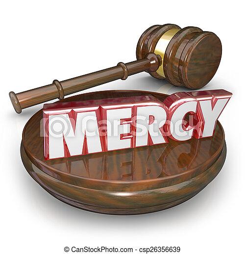 pitié, mot, juge, condamner, verdict, marteau, tribunal, lenient, 3d - csp26356639