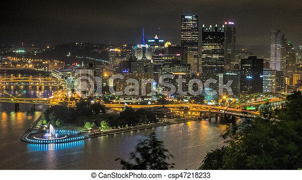Pittsburgh at night - csp47218233
