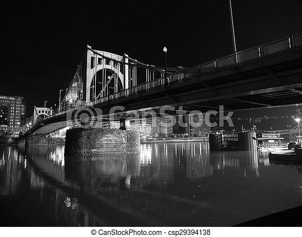 Pittsburgh Bridge at Night - csp29394138