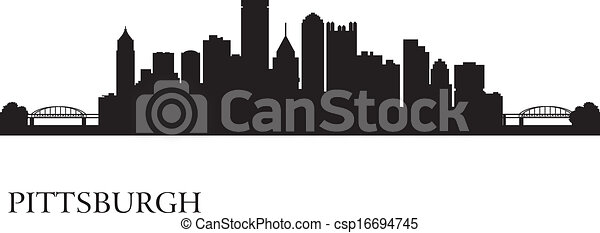 Pittsburgh city skyline silhouette background - csp16694745