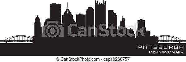 Pittsburgh, Pennsylvania skyline. Detailed vector silhouette - csp10260757