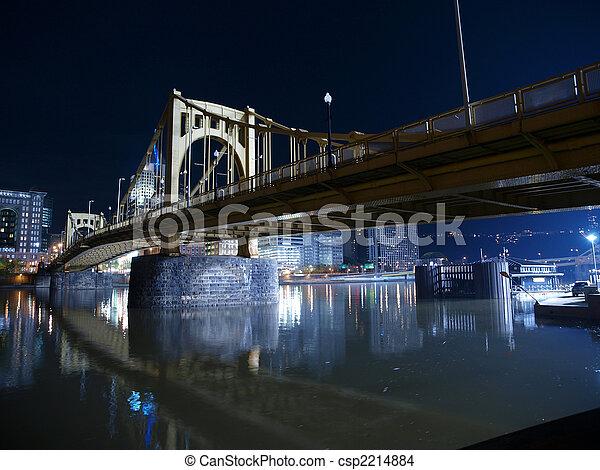 pittsburgh, ponte, notte - csp2214884