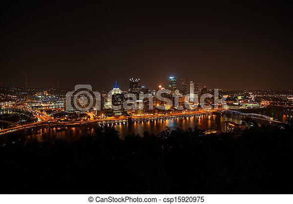 Pittsburgh Skyline at Night - csp15920975