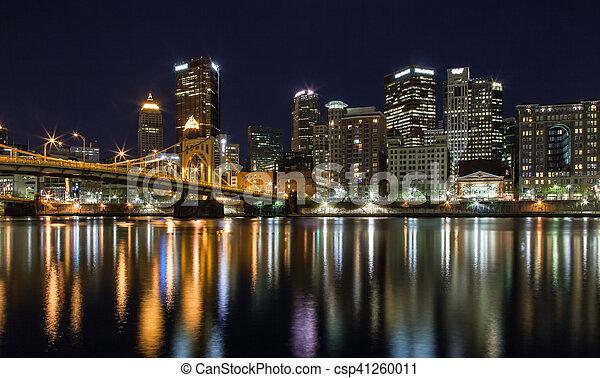 Pittsburgh Skyline at Night - csp41260011
